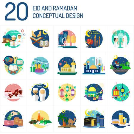 Conception conceptuelle Eid Mubarak et Ramadan