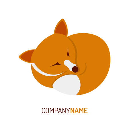 Fox Logo | cute sleeping | flat design style with golden ratio technique Illustration