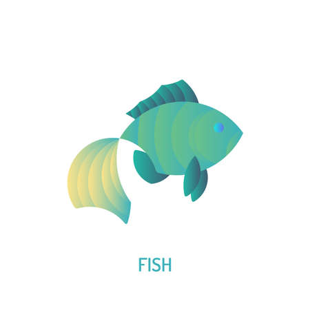 Fish icon with golden ratio technique and gradient color