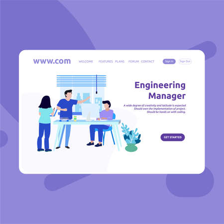 Landing Page Design Engineering Manager 向量圖像