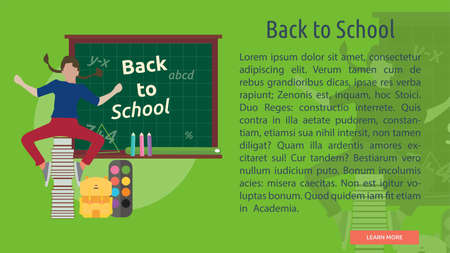 Back to School Conceptual Banner Illustration