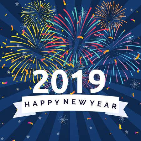 Happy New Year 2019 Illustration Concept