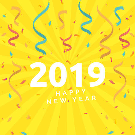 Happy New Year 2019 Illustration Concept 版權商用圖片 - 127659827