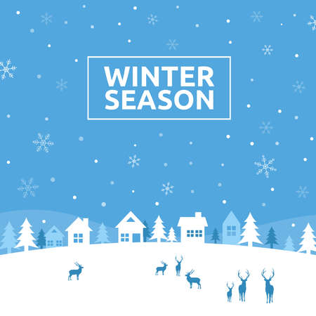 Winter Season, Wintertime Design Background, Vector Illustration Ilustracja