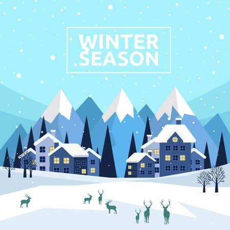 Winter Season, Wintertime Design Background, Vector Illustration Illustration