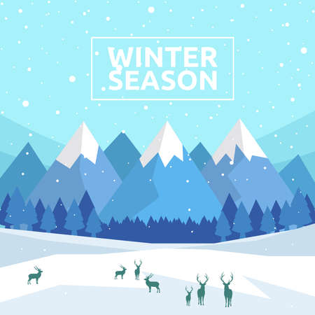 Winter Season, Wintertime Design Background, Vector Illustration Ilustração