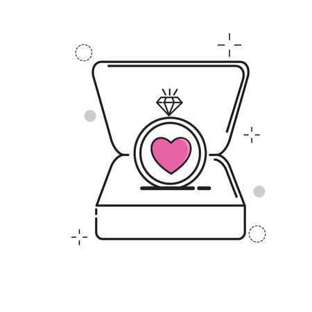 Wedding Icons Ring Box love with Outline Filled Style Ilustração