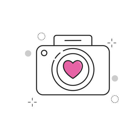 Wedding Icons Camera Love with Outline Filled Style
