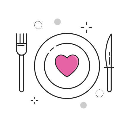 Wedding Icons Plate Love with Outline Filled Style