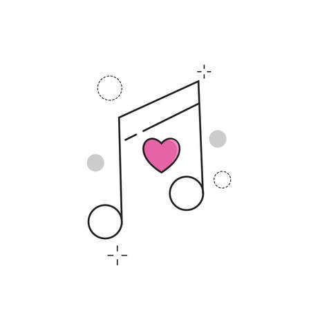 Wedding Icons Tone Love with Outline Filled Style Иллюстрация