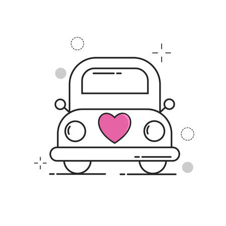 Wedding Icons Car Love with Outline Filled Style Ilustração