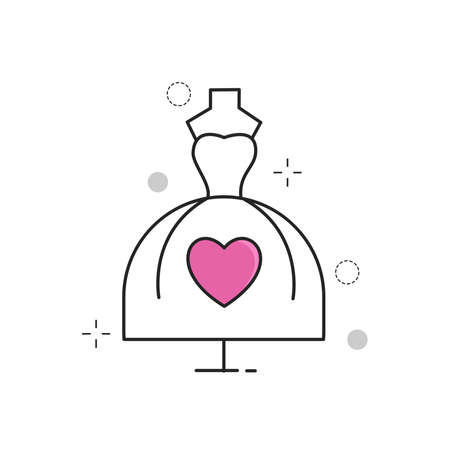 Wedding Icons Dress Love with Outline Filled Style