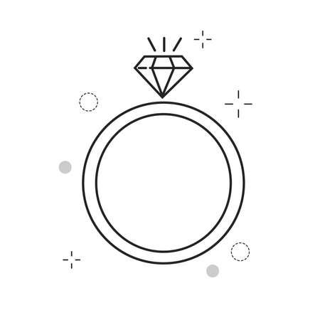 Iconos de boda anillo de amor con estilo lleno de contorno Ilustración de vector