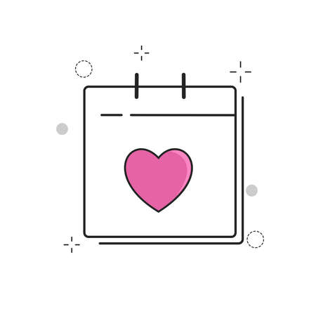 Wedding Icons Calendar Love with with Outline Filled Style