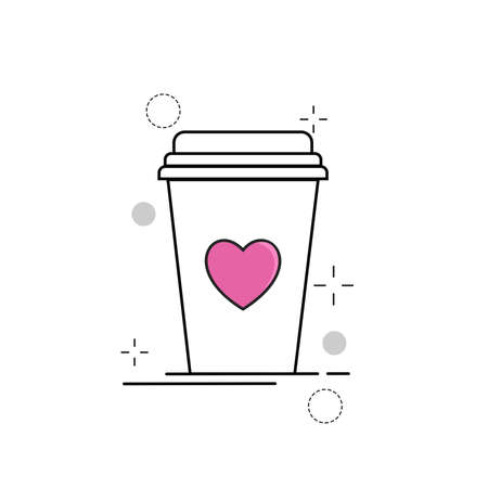 Wedding Icons Cup Love with Outline Filled Style Ilustração