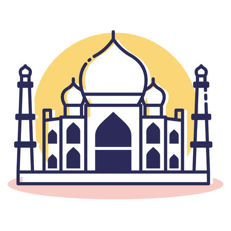 Taj Mahal Icon - Travel and Destination with Outline Style