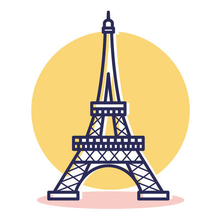 Eiffel Icon - Travel and Destination with Outline Style