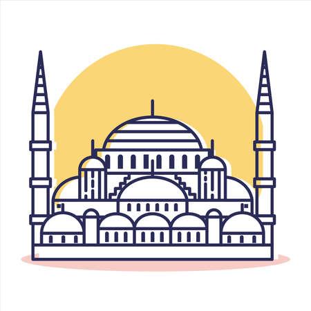 Blue Mosque Icon - Travel and Destination with Outline Style Vektoros illusztráció
