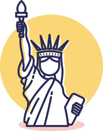 Liberty Icon - Travel and Destination with Outline Style