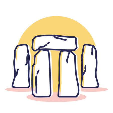 Stonehenge Icon - Travel and Destination with Outline Style