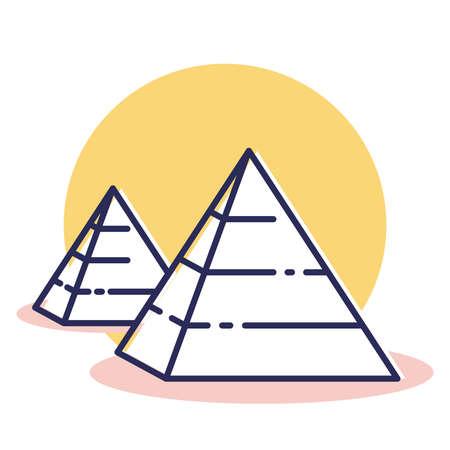 Icona piramide - Viaggio e destinazione con stile contorno