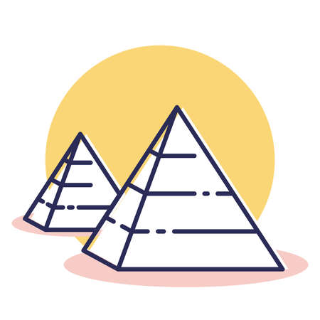 Pyramid Icon - Travel and Destination with Outline Style