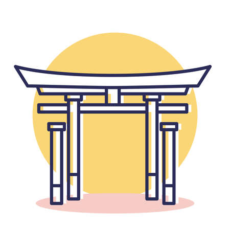 Itsukushima Shrine Icon - Travel and Destination with Outline Style