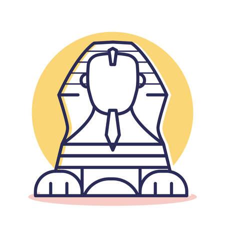 Icono de la esfinge: viaje y destino con estilo de contorno