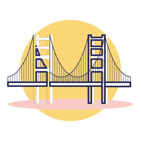 Golden Gate Icon - Travel and Destination with Outline Style