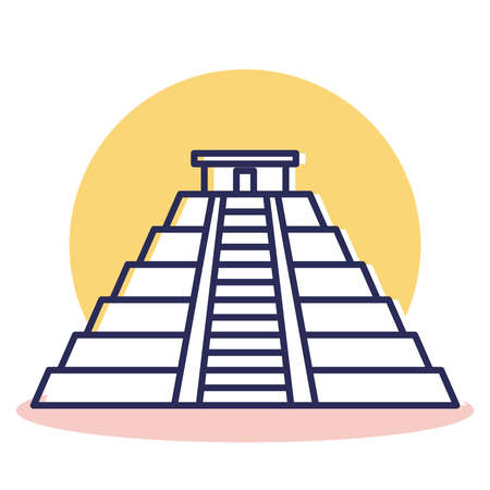 Mayan Icon - Travel and Destination with Outline Style