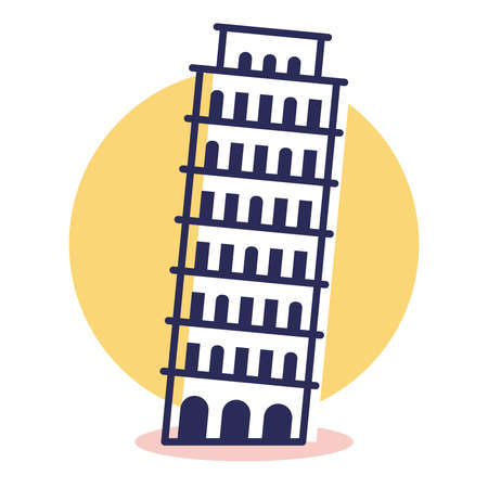 Pisa Icon - Travel and Destination with Outline Style
