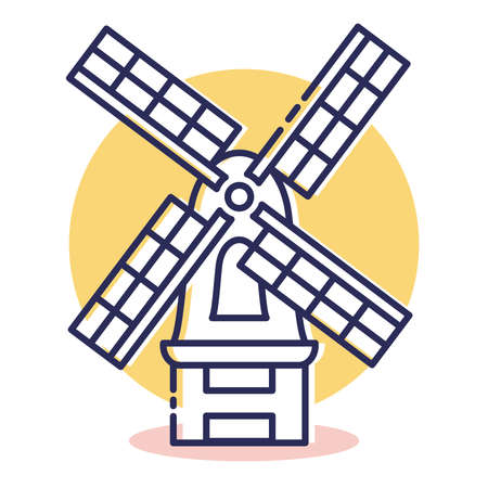 Windmill Icon - Travel and Destination with Outline Style