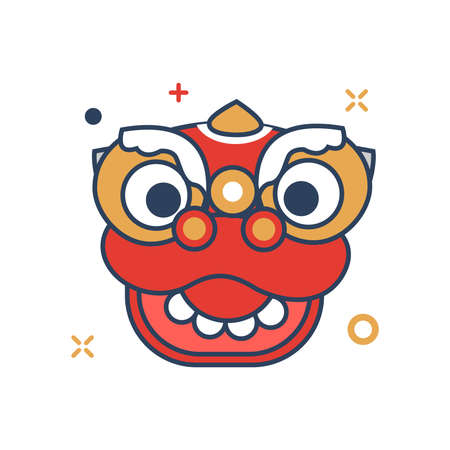 Pig Chinese New Year 2019 Icon | Barongsai head Icon - with Outline Filled Style