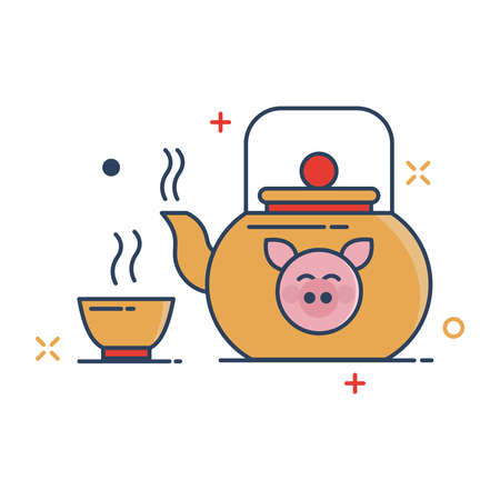 Pig Chinese New Year 2019 Icon | Teapot Chinese Icon - with Outline Filled Style 版權商用圖片 - 126157923