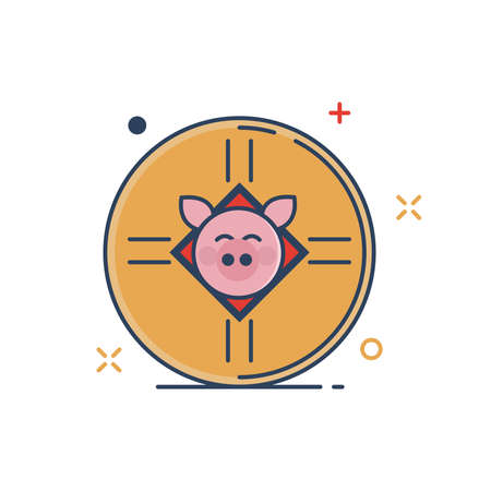 Pig Chinese New Year 2019 Icon | Coin Icon - with Outline Filled Style