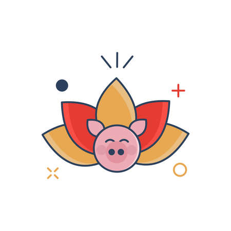 Cochon Nouvel An Chinois 2019 Icône | Icône Lotus - avec style rempli de contour