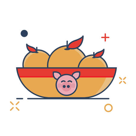 Pig Chinese New Year 2019 Icon | Orange Icon - with Outline Filled Style