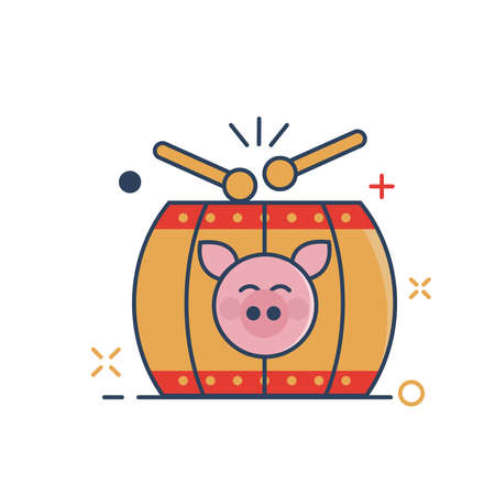 Pig Chinese New Year 2019 Icon | Tangu Drum Chinese Icon - with Outline Filled Style
