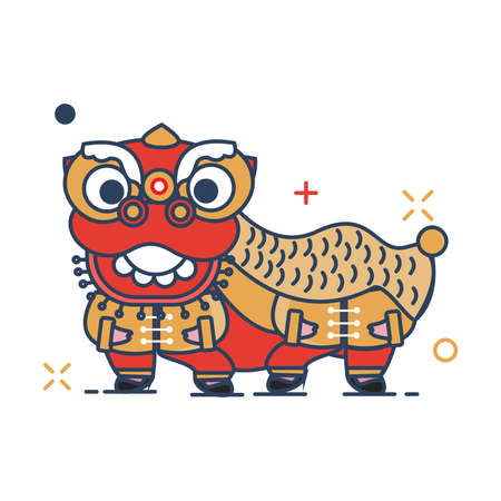 Pig Chinese New Year 2019 Icon | Barongsai Icon - with Outline Filled Style