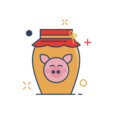 Pig Chinese New Year 2019 Icon | Chenese Ewer Icon - with Outline Filled Style Иллюстрация
