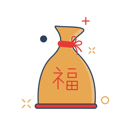 Chinese Parcel Icon - with Outline Filled Style