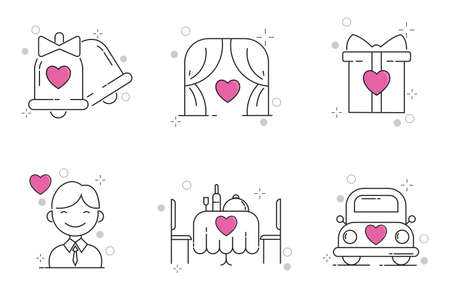 Wedding Icons Set with Outline Style 向量圖像