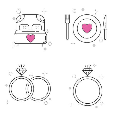 Wedding Icons Set with Outline Style Иллюстрация