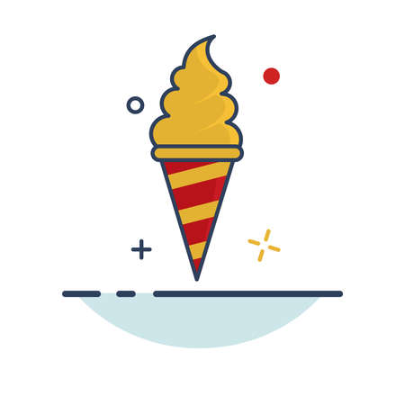 Carnival Icon | Ice Cream Icon - with Outline Filled Style