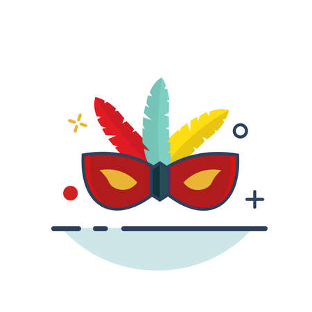 Carnival Icon | Mask Hat Icon - with Outline Filled Style 向量圖像