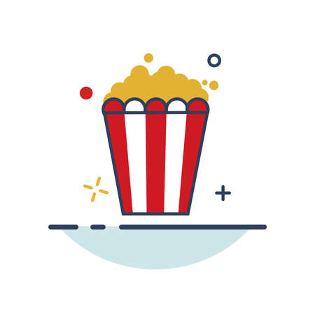 Carnival Icon | Pop Corn Icon - with Outline Filled Style
