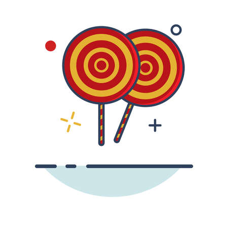 Carnival Icon | Candy Lolipop Icon - with Outline Filled Style