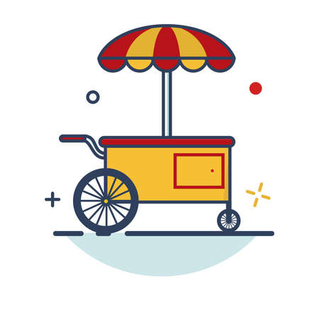 Carnival Icon | Food Cart Icon - with Outline Filled Style