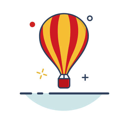 Carnival Icon | Flying Balloon Icon - with Outline Filled Style