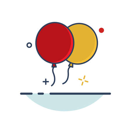 Carnival Icon | Baloon Icon - with Outline Filled Style